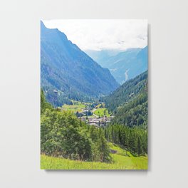 Panoramic view of the Gressoney valley Metal Print