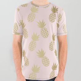 Pink & Gold Pineapples All Over Graphic Tee