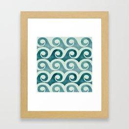 Vintage Waves - Tropical Teal Framed Art Print