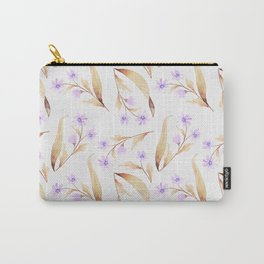 Watercolor lilac lavender brown hand painted floral illustration Carry-All Pouch