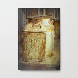 Creamery Milk Cans in 1880 Town in South Dakota Metal Print