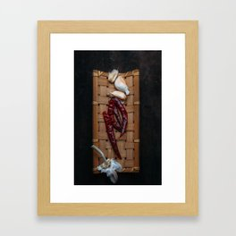 Spices in bamboo basket Framed Art Print
