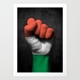 Hungarian Flag on a Raised Clenched Fist Art Print