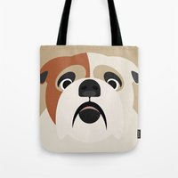 bulldog Tote Bags featuring Bulldog by SaveTheDogs.es