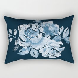 Country Rose on Indigo Rectangular Pillow