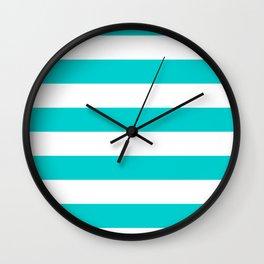 Horizontal Stripes - White and Cyan Wall Clock