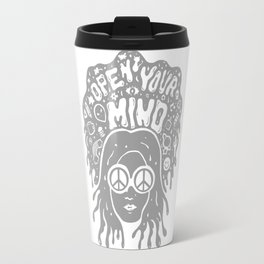 Open Your Mind in Gray Travel Mug