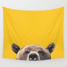 Bear - Yellow Wall Tapestry