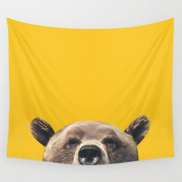 Bear - Yellow Wall Tapestry