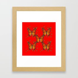 ORANGE MONARCH BUTTERFLIES RED MODERN ART MONTAGE Framed Art Print