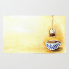 A cup of tea watercolor illustration Rug