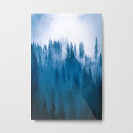 Blue Winter Day Foggy Trees Metal Print