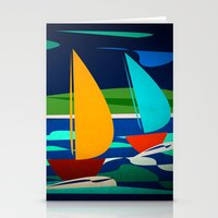 sailing Stationery Cards featuring sailing by laika in cosmos