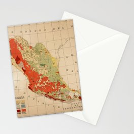 Vintage Geological Map of Mexico (1921) Stationery Cards