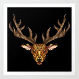 Deer Park- MI_Brown on Black Art Print