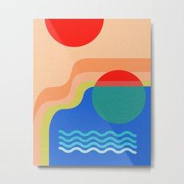 Beach Day Under The Bright Sun Illustration Art Print Metal Print