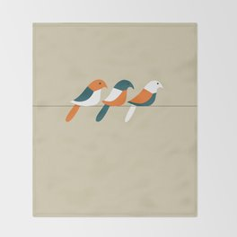 Birds on wire Throw Blanket