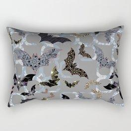 Halloween Bat Colony (on contemporary blue-black-silver background) Rectangular Pillow