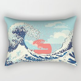The Great Wave off Kanagawa stormy ocean with big waves Rectangular Pillow
