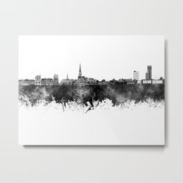 Leeuwarden skyline in black watercolor Metal Print