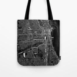 Chicago Black Map Tote Bag