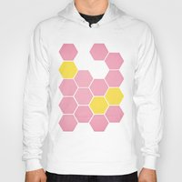 honeycomb Hoodies featuring Pink Honeycomb by Cassia Beck