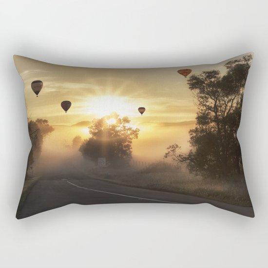 Hot Air Balloons on a Foggy Morning Rectangular Pillow