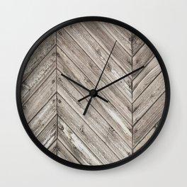Herringbone Weathered Wood Texture Wall Clock