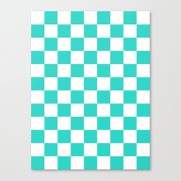 Checkered - White and Turquoise Canvas Print