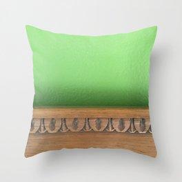 Green Wall, Wood Trim Throw Pillow