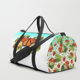 Monarch Butterfly with Strawberries on Aqua Duffle Bag
