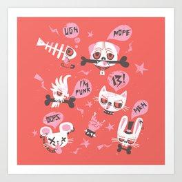 punky pets by unPATO Art Print