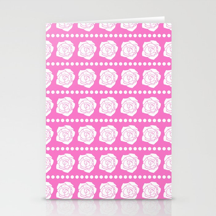 Simple White Roses - Pink BG Stationery Cards