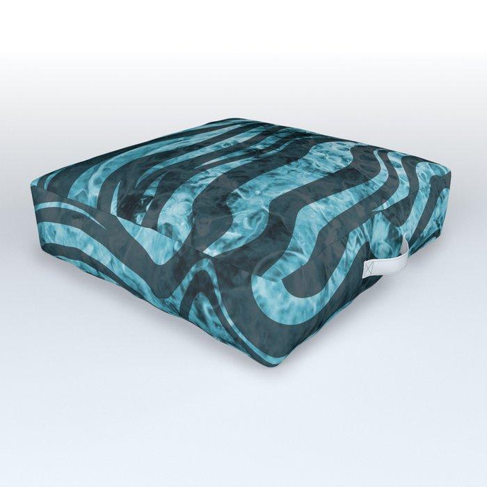 Zebra Stripes blue mosaic design Outdoor Floor Cushion