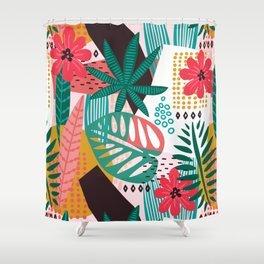 Matisse Inspired Pop Art Tropical Fun Jungle Pattern Shower Curtain