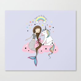 Mermaid & Unicorn Canvas Print