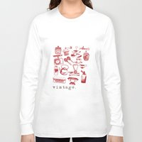 kitchen Long Sleeve T-shirts featuring kitchen vintage by flying bathtub