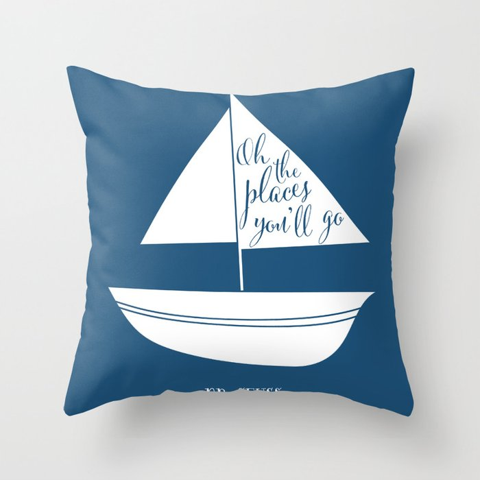 Dr Seuss Oh The Places You Ll Go Navy Sail Boat Throw