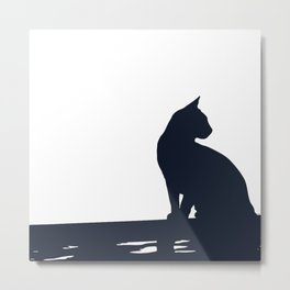 Black Cat  Sitting On the Fence Metal Print