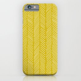 Chartreuse yellow herringbone iPhone Case