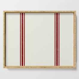 Red Stripes on Creme background French Grainsack Distressed Country Farmhouse Serving Tray