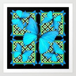 Ornate Black & Blue Azure Nouveau Butterfly Designs Art Print