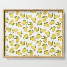 Watercolor lemon pattern Serving Tray