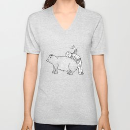 The Known Practice of using Domesticated Bears as cushions while drinking.  Unisex V-Neck