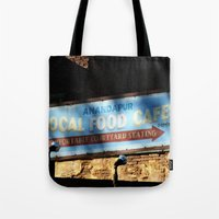 cafe Tote Bags featuring Cafe by Ink and Paint Studio
