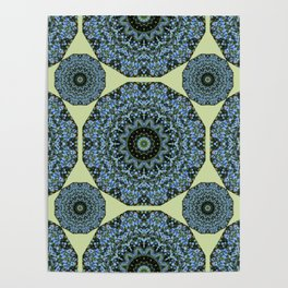 Floral mandala-style, Forget-me-nots 005.5 Poster