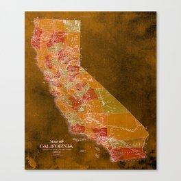 California Los Angeles old vintage map. Orange vintage poster for office decoration Canvas Print