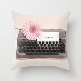 """""""I love you"""" Message and Typewriter with Pink Flower (Retro Still Life Photography)  Throw Pillow"""