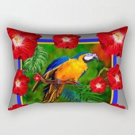 GREY RED HIBISCUS GOLD MACAW JUNGLE ART Rectangular Pillow