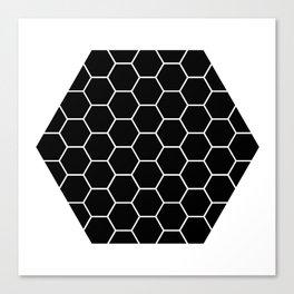 Geometric shape t-shirts & prints: Black Hexagon (Hex x Hex) Multiple colours available... Canvas Print
